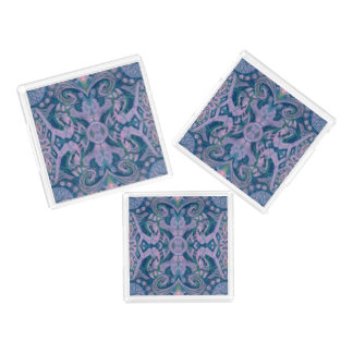 Curves & Lotuses, abstract pattern lavender & blue Serving Tray