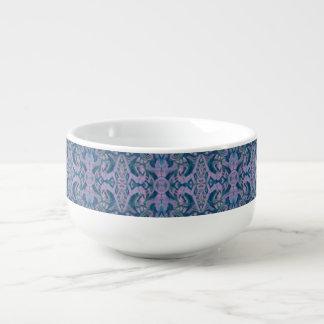 Curves & Lotuses, abstract pattern lavender & blue Soup Mug