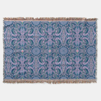 Curves & Lotuses, abstract pattern lavender & blue Throw Blanket