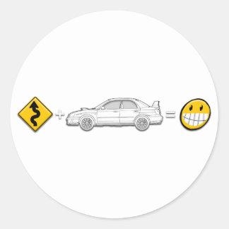 Curves, Subaru, equals fun Round Sticker