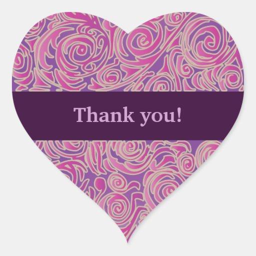 Curvy Lines Batik Pink Heart Sticker