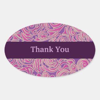 Curvy Lines Batik Pink Oval Sticker