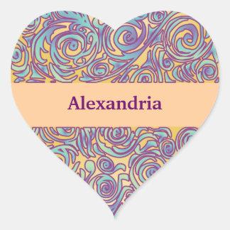 Curvy Lines Batik Purple Heart Sticker