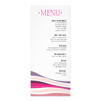 Curvy Lines Dinner Menu fuschia Personalized Invitations