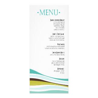 Curvy Lines Dinner Menu teal olive Invite