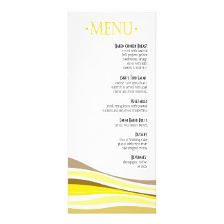 Curvy Lines Dinner Menu yellow Custom Announcements