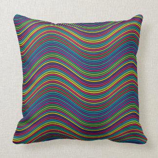 Curvy Rainbow Lines Design Throw Pillow