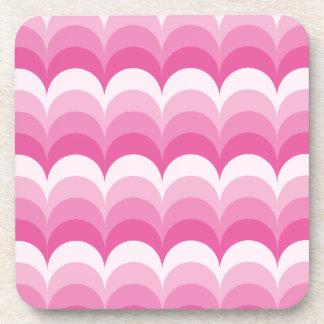 Curvy waves pink coasters