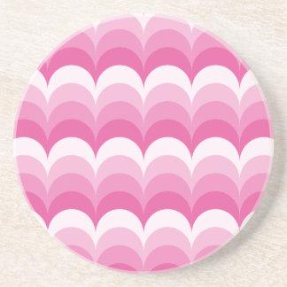 Curvy waves pink drink coasters