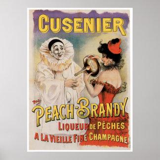 Cusenier Peach Brandy Vintage Wine Ad Art Poster