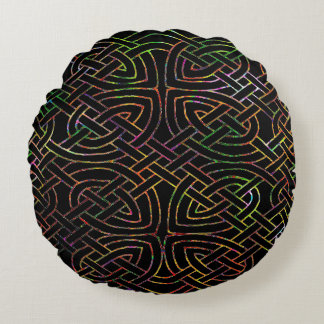 Cushion, Celtic knot, multicolored Round Pillow