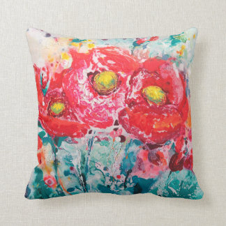 Cushion flower poppies   40.6 cm X 40.6 cm