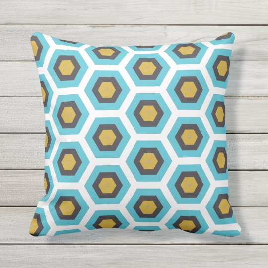 Cushion Geometrical Forms Yellow Blue/