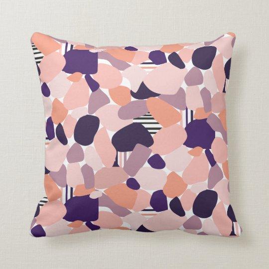 Cushion in the Terrazzo Design in purple, orange,