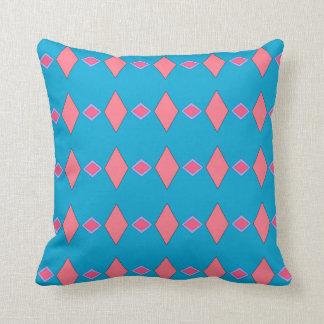 Cushion melts blue céruléen, reason pink rhombuses throw pillow