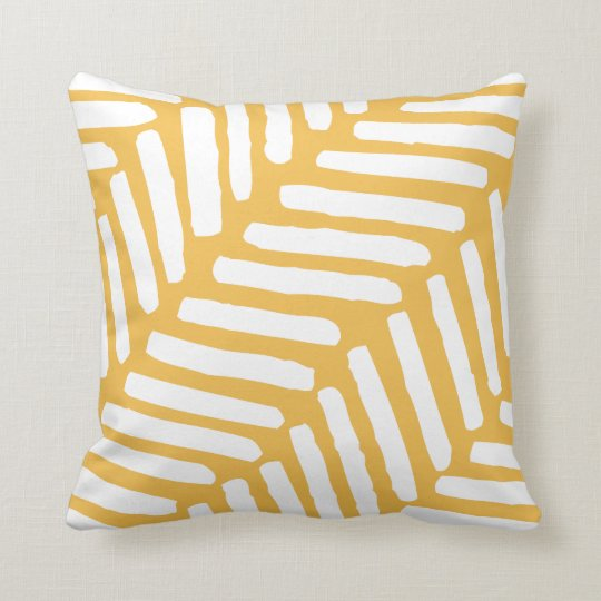 Cushion Pillow pattern lines mustard