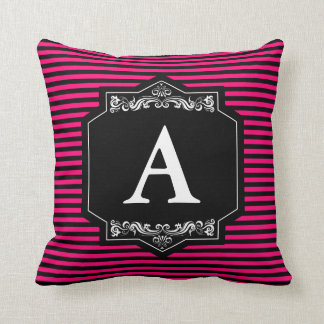 Cushion Pink Stripes Monogram with Initial