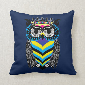 Cushion the Art of the Blue Colored Cosmic Owl