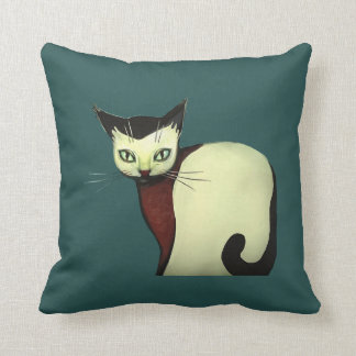 Cushion with artistic drawing of a cat