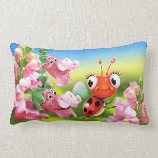 Cushion with cute Ladybug & friendly Snap Dragons.