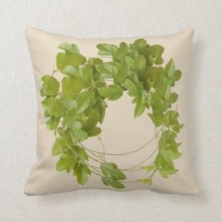 cushion with green leaves of trepadora enredadera
