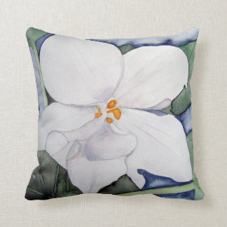 Cushion with watercolor of African violet