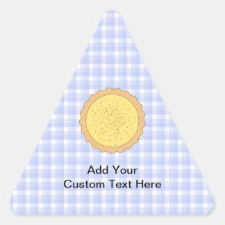 Custard Pie. Yellow Tart, with Blue Gingham. Triangle Sticker