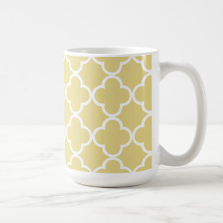 Custard Yellow and White Quatrefoil Moroccan Patte Coffee Mug