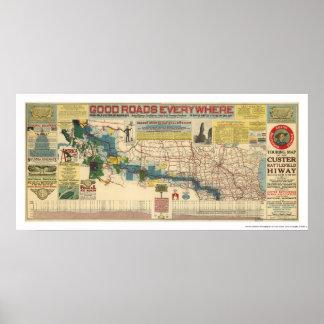 Custer Battlefield Highway Map - 1925 Poster