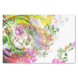 Custom 10lb Tissue Paper, Musical Flowers Tissue Paper