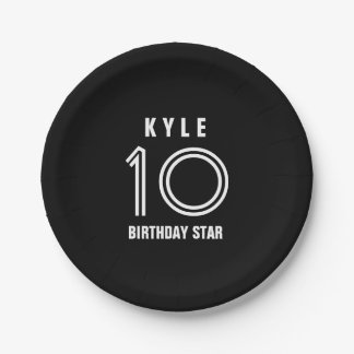 Custom 10th Year Birthday Custom Color B01 Paper Plate