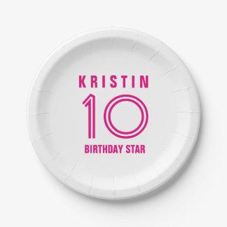 Custom 10th Year Birthday Custom Color B13 Paper Plate