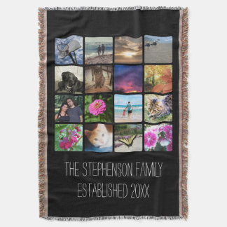 Custom 16 Photo Collage Vertical Mosaic Picture Throw Blanket