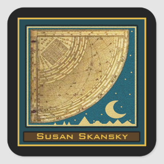 Custom 1775 Astrolabe Quadrant Bookplate Square Sticker