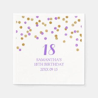 Custom 18th Birthday Napkin Gold Purple Confetti Disposable Napkin