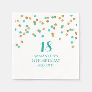 Custom 18th Birthday Napkin Gold Tuquoise Confetti Paper Napkin