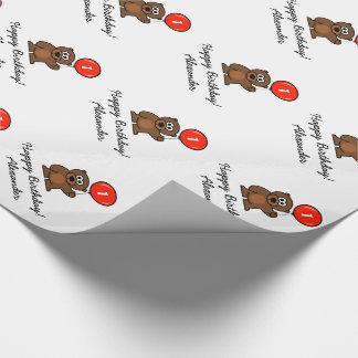 Custom 1st Birthday teddy bear wrapping paper