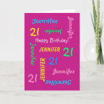 Custom 21st Birthday Card Any Name Pink Funbrdiv Class