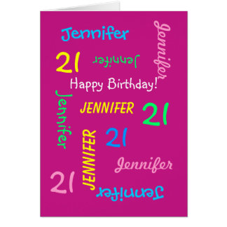 Custom 21st Birthday Card Any Name, Pink, Fun