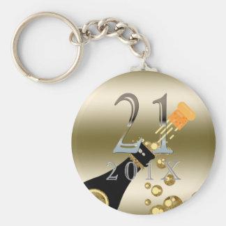 Custom 21st Birthday Gift   Champagne Gold Silver Keychain