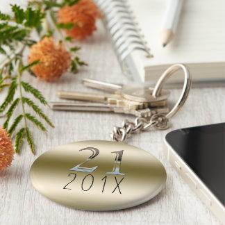 Custom 21st Birthday Gift   Gold Silver Number 21 Keychain