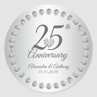 Custom 25th Wedding Anniversary Diamonds Silver Classic Round Sticker
