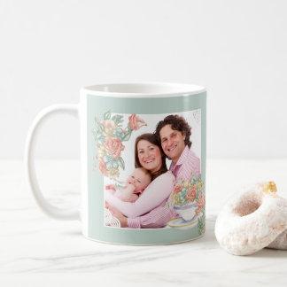 Custom 2 Photo Watercolor Floral and Teacup Coffee Mug
