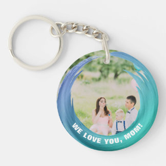 Custom 2 Photos | For Mom Aqua Turquoise Keychain