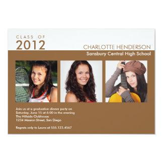 Custom 3 photo brown graduation class invitation
