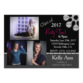 Custom 3 Photo Grad Party Invitation