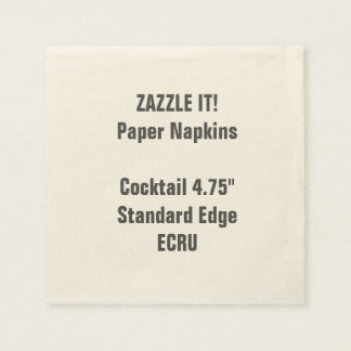 "Custom 4.75"" ECRU Cocktail Napkins Blank Disposable Napkins"