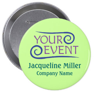 "Custom 4"" Huge Name Button Pin Company Event Logo"