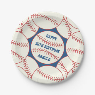 "Custom 50th Birthday Baseball 7"" Paper Plates 7 Inch Paper Plate"
