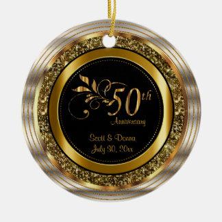 Custom 50th Golden Anniversary Round Ceramic Ornament